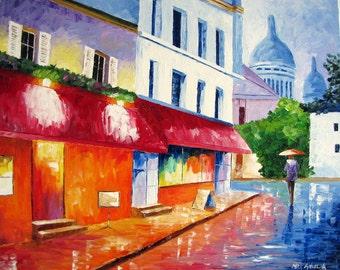 """ORIGINAL Oil Painting Modern Palette Knife Cityscape -  PARIS MONTMARTRE 20""""x 16""""x 1.5"""""""