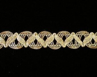 """752.2 Metallic gimp trim - """"U-loop with Zig"""" antique-gold - 5/8"""" (16mm)"""