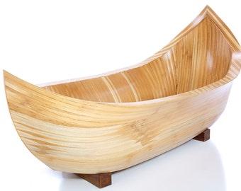 Sira wooden bathtub. Unique canoe bathtub.