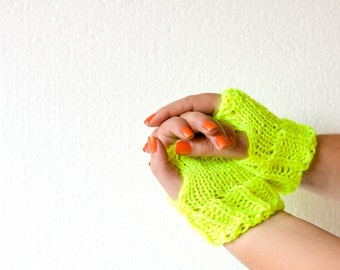 Bright Neon Fingerless Gloves, Yellow Green Electric Mittens for Women, Winter Knit Warmers ohtteam