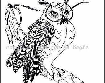 CARD SET of Four OWLS - Pen & Ink, doodle designed feathers; wings; drawings, 4 x 5.5 inches with envelopes, blank inside,