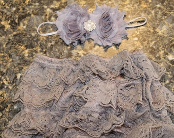 Vintage Lace Baby Bloomer, Diaper Cover and Headband Set, Gray Lace Bloomer, Newborn, Baby Girl
