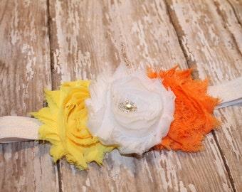 SALE Candy corn Headband, Halloween Headband, Fall Headband, Baby Headband