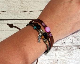 Multi strand wood beaded Jesus fish adjustable bracelet
