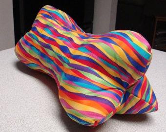 Colorful Rainbow Ripples Dog Bone Shaped Contoured Neck Pillow