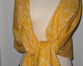 Handmade Hand-Stamped Wax Batik Scarf - All Seasons Cotton Fashion Scarf, Shawl, Pashmina, Yellow Scarf