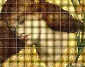 "Counted Cross Stitch Pattern Dante Gabriel Rossetti ""Sancta lilias"""
