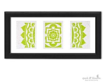 Art Print Trio - Radiant Mandala - hand block printed on natural paper with green ink