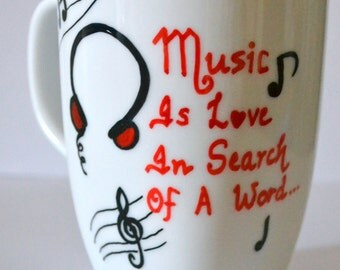Music Love Valentine's Day Coffee Mug 10 oz