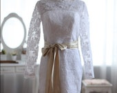 Long Sleeves Lace Wedding Dress Knee Length Short Bridal Gown