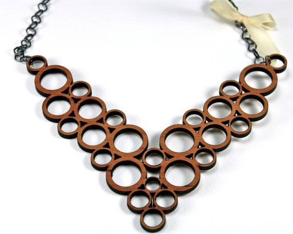 Modern Geometric Bib Style Statement Bubble Necklace Cherry Wood & Ribbon Abstract Unique Laser Cut Wooden Jewelry With Gunmetal Chain