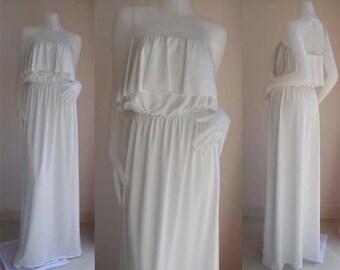 White Strapless  Raffle sun beach Long maxi dress all size