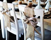 Burlap chair sash - Rustic wedding