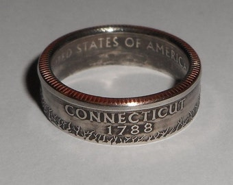 CONNECITUT us quarter  coin ring size  or pendant
