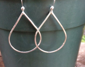 Handmade soldered small teardrop hoop earrings
