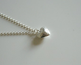 Daisy Heart Necklace, Sterling Silver