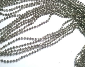 1 Silver Tone 2.4 mm Ball Chain Unfinished