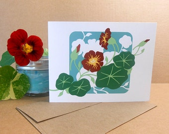 Nasturtiums Card Hand Silkscreened Screen Printed