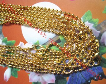 Wholesale 50pcs 18 inch Gold Plated 2.4mm Ball chain necklace with lobster clasps