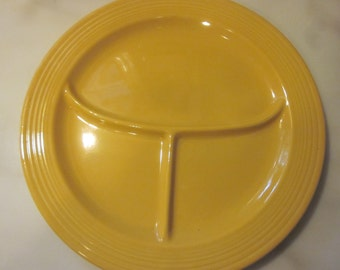 Vintage yellow fiestaware compartment plate