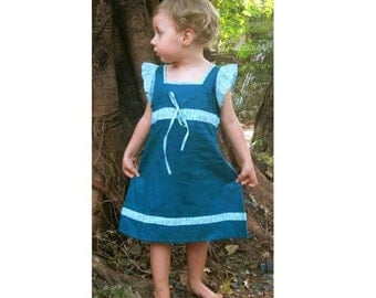 Blue green dress with flared sleeves in blue, pink and green small flowers print