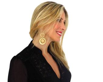 Round gold earrings - Gold tribal earrings -Gold geometric earrings - Gold statement earrings - Long dangle earrings