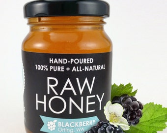 Raw BLACKBERRY Honey - Hand-Poured, 100% Pure & All-Natural (6 oz)