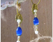 Beautiful Gold Hoop Earrings with Blue Opal & White Pearls