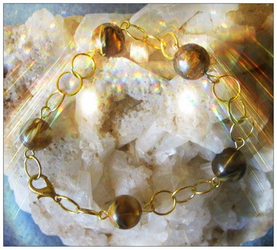 Handmade Gold Bracelet with Watermelon Tourmaline by IreneDesign2011