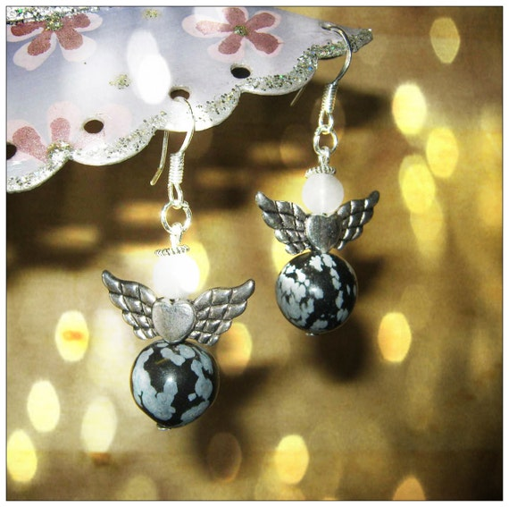 Handmade Silver Guardian Angel Earrings with Snowflake Obsidian & White Opal by IreneDesign2011