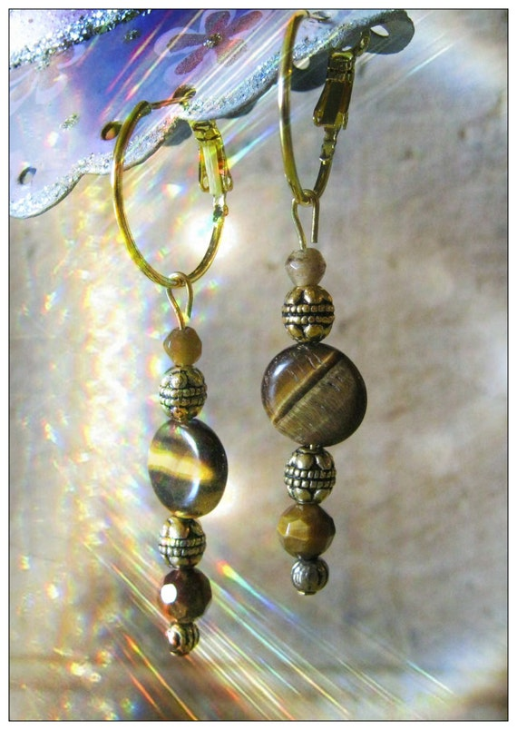 Handmade Gold Hoop Earrings with Tiger's Eye by IreneDesign2011