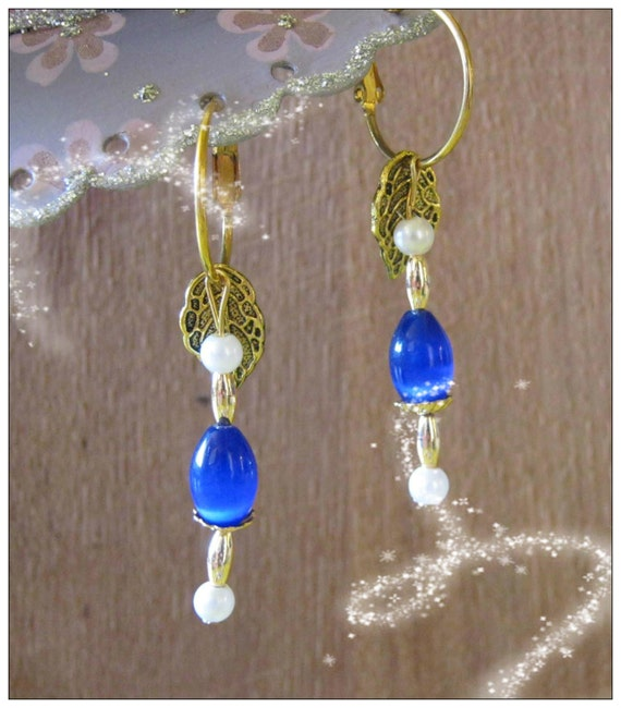 Handmade Gold Earrings with Blue Opal & White Pearls by IreneDesign2011