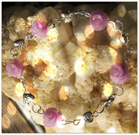 Beautiful Handmade Silver Bracelet with Purple Resin Roses & Hearts by IreneDesign2011
