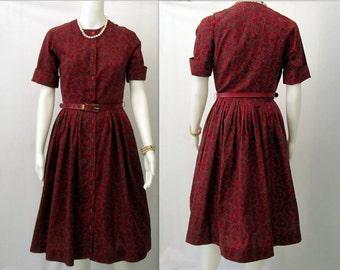 Vintage 50's Floral Dress, 50s Rockabilly Clothing, 50s Swing Dress