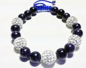 Blue goldsand stackable bracelet set