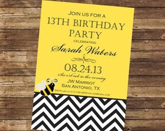 Printable Bumblebee Birthday Invitation