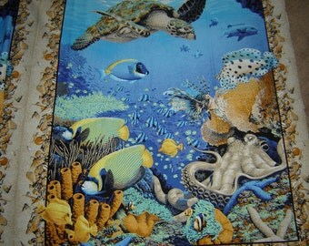 Coral Seas Fish Octopus Turtle Fabric By the Panel