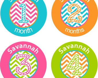 Baby Month Stickers Baby Monthly Stickers Girl Monthly Shirt Stickers Chevron Name Shower Gift Photo Prop Baby Milestone Sticker