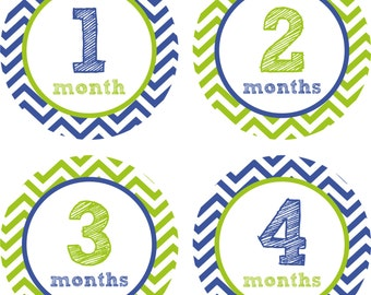 Baby Month Stickers Baby Monthly Stickers Boy Monthly Shirt Stickers Blue Green Sketch Baby Shower Gift Photo Prop Baby Milestone Sticker