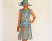 The 1920s flapper dress, Great Gatsby dress, in blue and white silk, 20s wedding bridesmaid dress, Downton Abbey, flapper costume