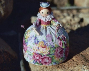 PINCUSHION DOLL PATTERN - Pin Poppet Pincushion Doll pattern and pre-painted head.