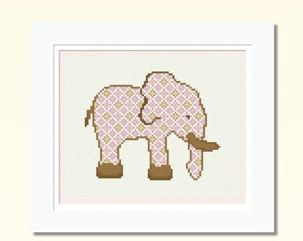 Counted Cross Stitch Pattern Baby Girl Elephant, Set of 3 Charts in PDF, Sampler Silhouette Easy Nursery Embroidery Design INSTANT DOWNLOAD