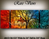 Acrylic paintings ABSTRACT LANDSCAPE PAINTING Large landscape red, blue canvas fine art gallery sunset tree modern landscape art Nandita
