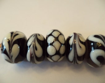 Black & Ivory lampwork bead set