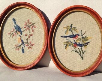 Vintage Needlepoint Robins Bird Wall Hangings