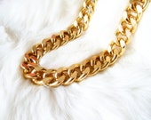 Oversize Chunky Gold Necklace. A Gold Statement Chain Curb Necklace. Retro and Stunning.