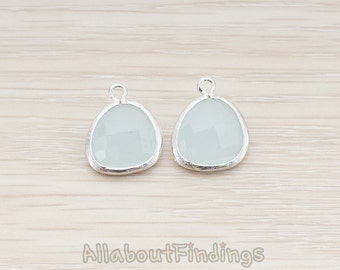 FST850-02-MR-AB // Matte Original Rhodium Plated Rounded Framed Alice Blue Stone Pendant, 2 Pc