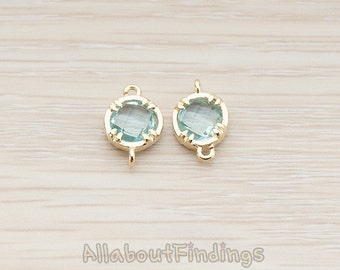 FST115-G-AQ // Glossy Gold Plated Round Framed Aqua Stone Connector, 2 Pc