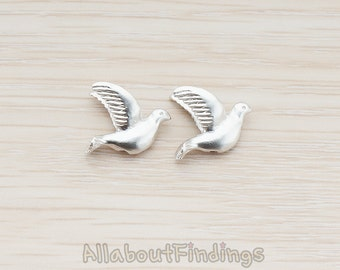 BDS010-MR // Matte Original Rhodium Plated Mini Sparrow Dove Bird Metal Bead, 2 Pc