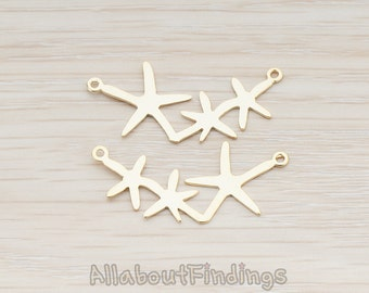 PDT189-MG // Matte Gold Plated Triple Starfish Linked Pendant, 2 Pc